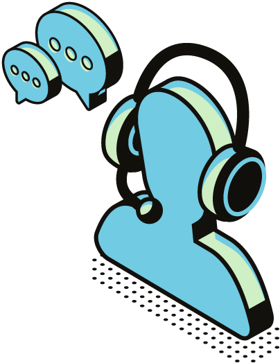 a silhouette with headphones and message boxes