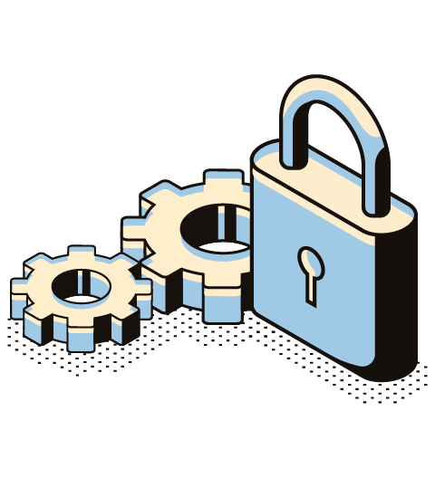 image of a lock and cogs for website security